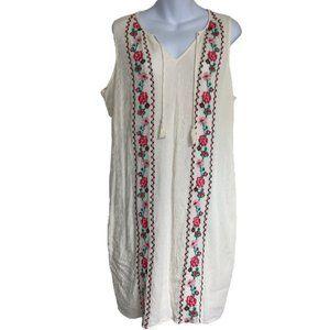 Sleeveless Embroidered Shift Dress - Size XL